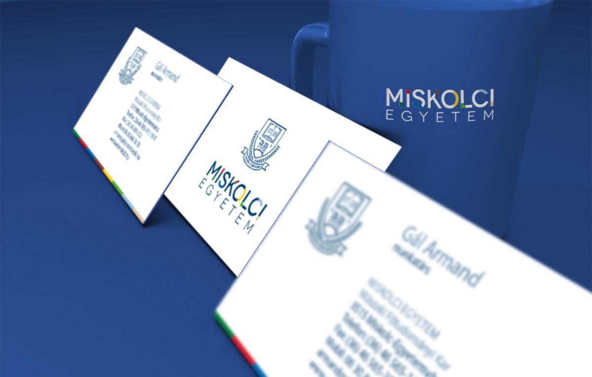 A Miskolci Egyetem arculattervezése során készült névjegyek