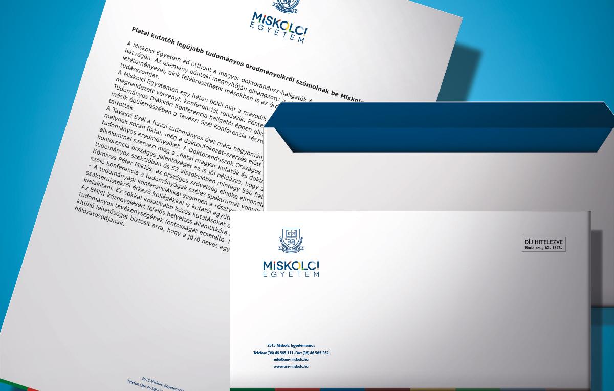 Arculattervezés: a Miskolci Egyetem borítéka és levélpapírja