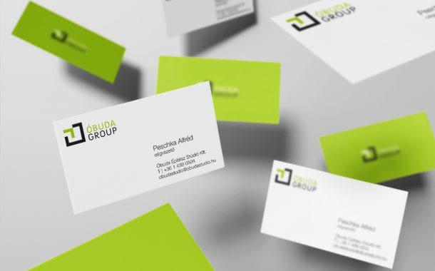 Az Óbuda Group márka arculattervezése során készült névjegyek
