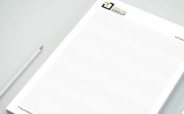 Az Óbuda Group márka arculattervezése során készült jegyzettömb